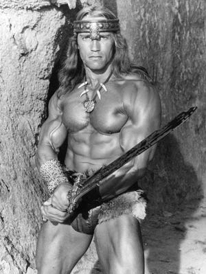 This undated file publicity photo from Universal Pictures shows Arnold Schwarzenegger as Conan in the 1984 film 'Conan the Destroyer,' sequel to 'Conan the Barbarian.'