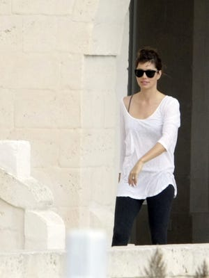 In this photo taken on Oct. 20, 2012 Jessica Biel walks in the Borgo Egnazia resort, in Savelletri, southern Italy.