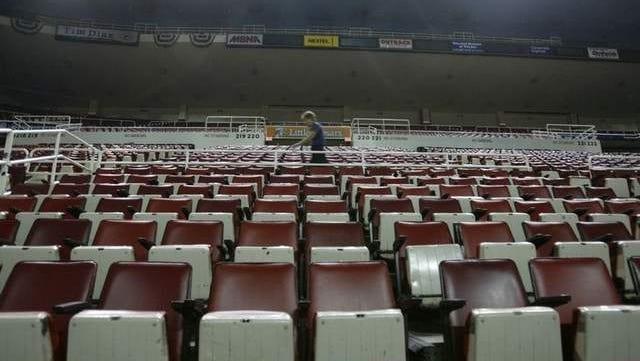 Empty seats at Joe Louis Arena in Detroit.