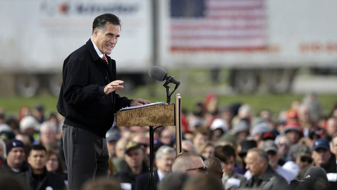 Mitt Romney delivers a speech on the economy  at Kinzler Construction Services in Ames, Iowa.