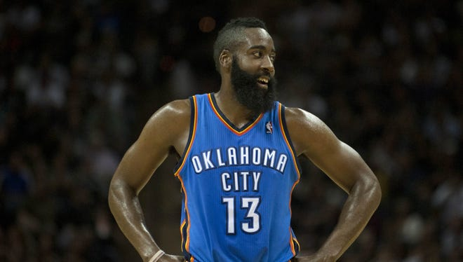 James Harden was a key piece of the Thunder's NBA Finals run last season, but he was traded Saturday to the Rockets. Harden, 22, is a versatile shooting guard who averaged 16.8 points, 4.1 rebounds and 3.7 assists a game as the NBA's sixth man of the year last season. See who joins him in Houston and who is headed to Oklahoma City in this gallery.