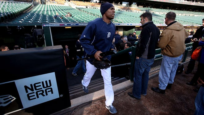Austin Jackson is set for a chilly night at Comerica Park.