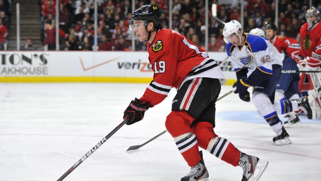 Chicago Blackhawks center Jonathan Toews, shown in February, was a captain during Friday's charity game.