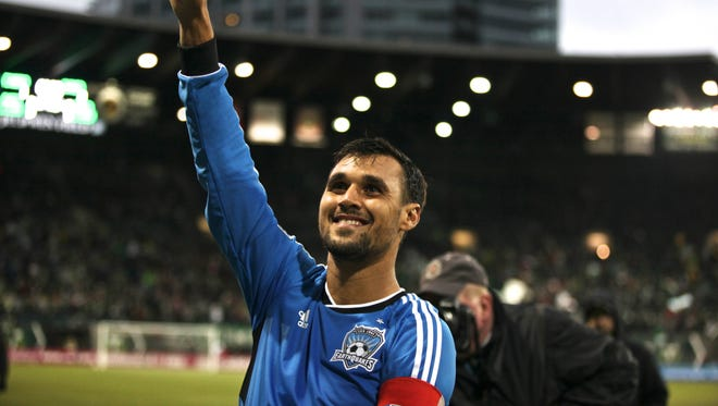 San Jose forward Chris Wondolowski acknowledges fans in Portland after tying an MLS record with his 27th goal of the season.