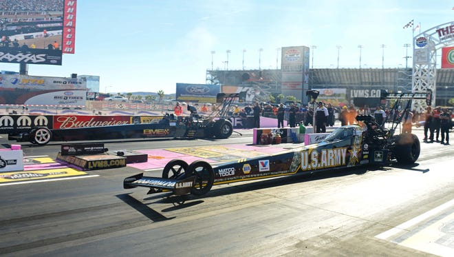 NHRA Top Fuel dragster driver Tony Schumacher during qualifying for the Big O Tires Nationals at The Strip in Las Vegas.