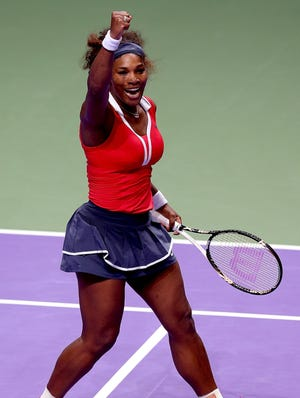 Serena Williams celebrates after defeating Maria Sharapova 6-4, 6-3 to win the TEB BNP Paribas WTA Championships in Istanbul.