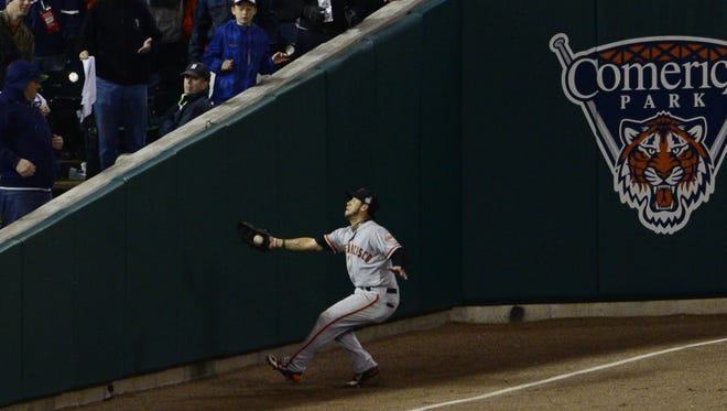 San Francisco Giants outfielder Gregor Blanco made a key catch on a foul ball hit by Detroit's Jhonny Peraltain the ninth inning during game three of the  World Series Saturday at Comerica Park.