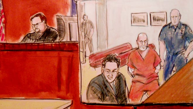 In this courtroom drawing, Pedro Hernandez, second right, is arraigned at Manhattan Criminal Court in New York on May 25. Hernandez is charged with murdering 6-year-old Etan Patz in 1979. The Manhattan district attorney's office said there wasn't enough evidence to charge Jose Ramos for Etan's death.