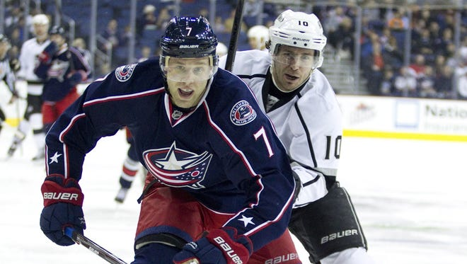 Columbus Blue Jackets defenseman Jack Johnson (7) took to the Internet to plead for the end of the lockout.