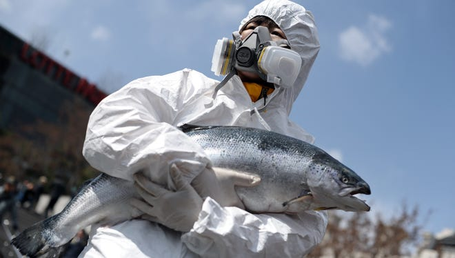 A protester dressed in a contamination suit holds a dead salmon outside the Seoul Nuclear Security Summit.