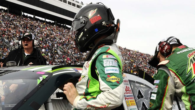 Dale Earnhardt Jr. gets back into his No. 88 Chevy at Sunday's Tums Fast Relief 500.
