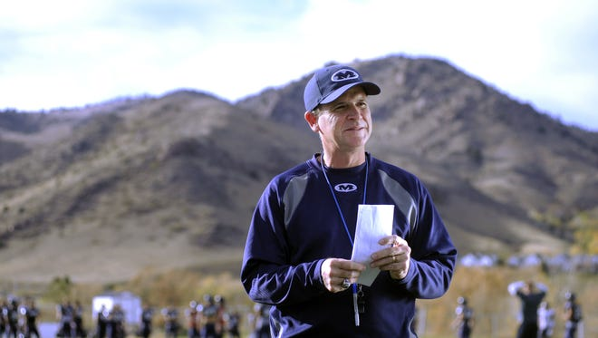Bob Stitt, the head football coach at Colorado School of Mines in Golden, Colo., at football practice Tuesday October 23, 2012.