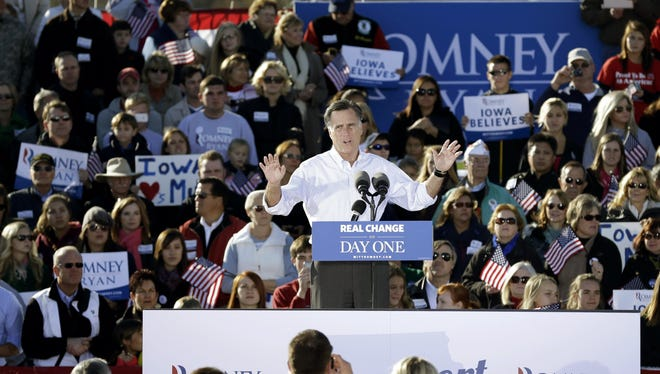 Republican presidential candidate Mitt Romney speaks in Davenport, Iowa.