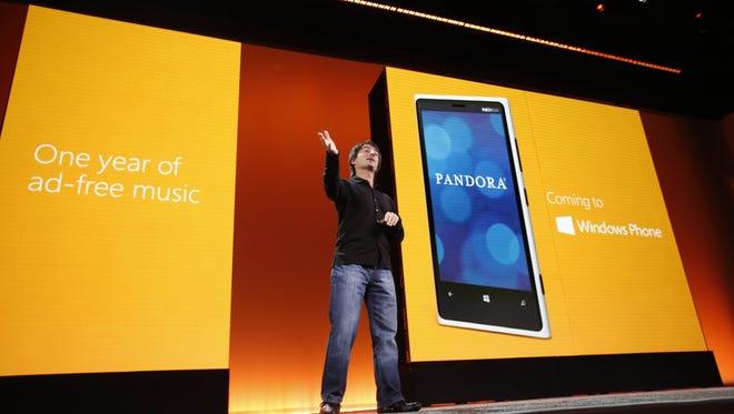 Microsoft executive Joe Belfiore unveils Windows Phone 8's upcoming Pandora integration feature.