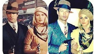 Ryan Seacrest and Julianne Hough, on the right,  dress as Bonnie and Clyde for Halloween. That's Warren Beatty and Faye Dunaway on the left, from the movie.