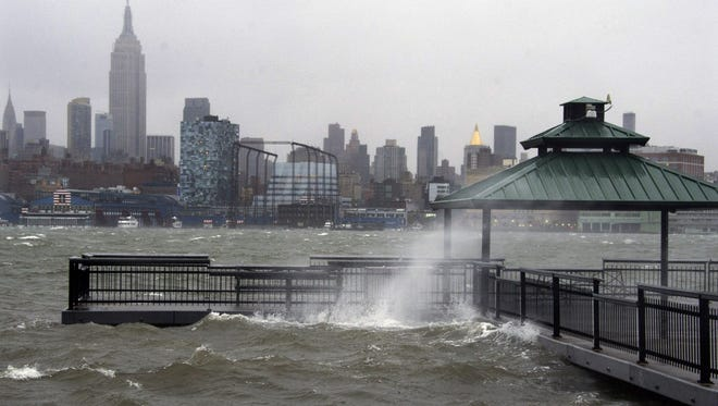 The New York City skyline and Hudson River on Monday as seen from Hoboken, N.J. as Hurricane Sandy approached.