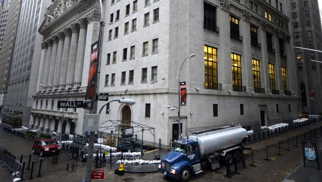 The New York Stock Exchange on  October 30, 2012, as New Yorkers clean up the morning after Hurricane Sandy made landfall.