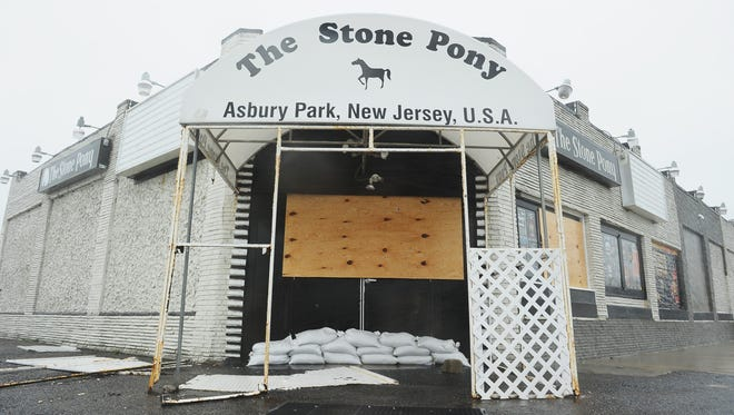 The famous Stone Pony was boarded up Monday to help protect it it from Hurricane Sandy, and it survived with minor damage.