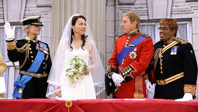 This Oct. 31, 2011, photo shows co-hosts  Savannah Guthrie, left, Ann Curry, Matt Lauer and Al Roker dressed as the royal family on the Halloween segment of the 'Today' show in New York.