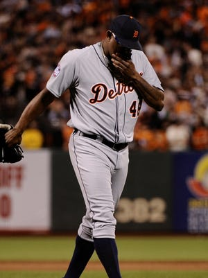 Jose Valverde's final appearance as a Tiger came in ignominious fashion in Game 1 of the World Series.