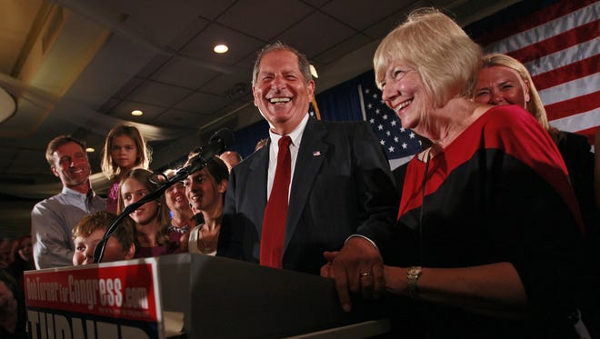 Bob Turner and his wife, Peggy, celebrate his 2011 victory in a special election for Congress.
