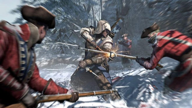 Connor battles British soldiers in 'Assassin's Creed III.'