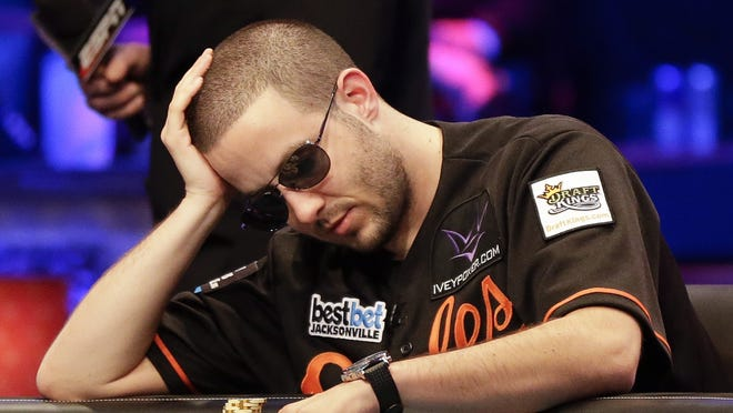 Greg Merson prepares to make his next move during the World Series of Poker Final Table event, early Wednesday in Las Vegas.
