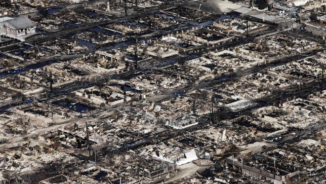 This aerial photo shows the Breezy Point neighborhood in New York, where more than 50 homes were burned to the ground Monday night as a result of Sandy.