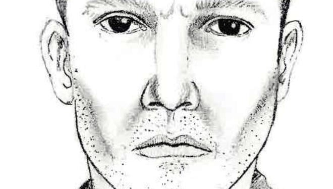 This image released by Michigan State Police shows a sketch of a man suspected in a series of shootings over a three-county area of southeastern Michigan.