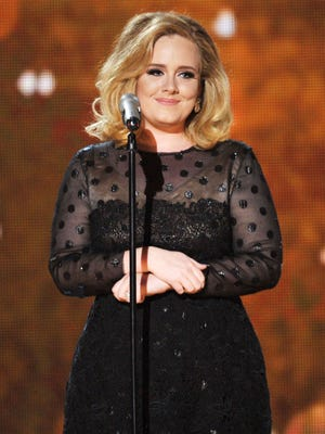 Adele performs at the 2012 Grammys.