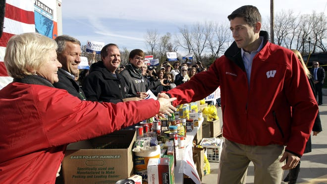 Paul Ryan greeted supporters in LaCrosse, Wis., after superstorm Sandy struck the Northeast.