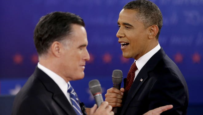 GOP presidential nominee Mitt Romney, left, and President Barack Obama each has his own way of establishing executive presence based on his particular background, strengths and stories.