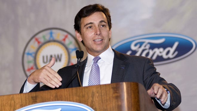 Mark Fields, Ford Americas president, speaks to workers and the media at the Louisville (Ky.) Assembly Plant in June 2012.