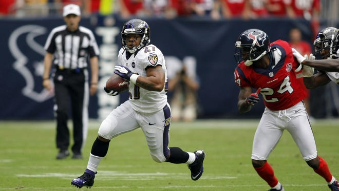The Ravens' Ray Rice, running in the first quarter Oct. 21 vs. the Texans, was held to 42 yards on nine carries in that game, a 43-13 loss.