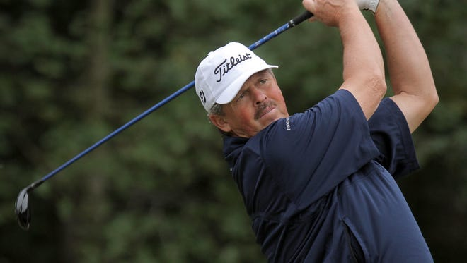 Jay Don Blake, 54, birdied three of the final four holes to go 6-under 64 and a one-stroke lead  at the season-ending Charles Schwab Cup Championship in Arizona.
