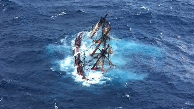 The HMS Bounty, a 180-foot sailboat, is submerged in the Atlantic Ocean during Hurricane Sandy approximately 90 miles southeast of Hatteras, North Carolina, on October 29.