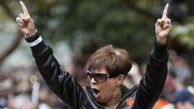 The San Francisco Giants' public address announcer, Renel Brooks-Moon, was one of many Giants' staff who don't take to the field but were honored in the victory parade.