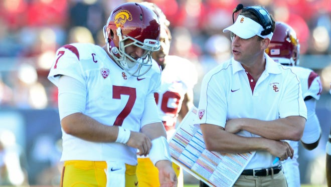 Quarterback Matt Barkley's commitment to remain at USC and smart roster strategy by coach Lane Kiffin, left, have kept the Trojans among the nation's top 25 teams despite some of the most severe scholarship restrictions the NCAA has ever imposed.