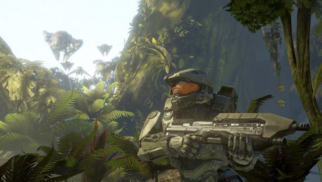 In this exclusive 'Halo 4' image, the main character, the Master Chief, explores the mysterious planet Requiem.