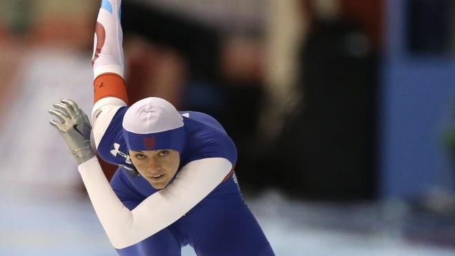 Heather Richardson races in the 500 meter event of the U.S. single distance long track championships at the Petit National Ice Center.