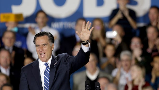 Republican presidential candidate Mitt Romney  attends a campaign event in West Allis, Wis.