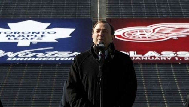 Commissioner Gary Bettman stands in Michigan Stadium for the February announcement about the Winter Classic.