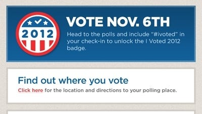 A screenshot of the Foursquare election app I Voted.