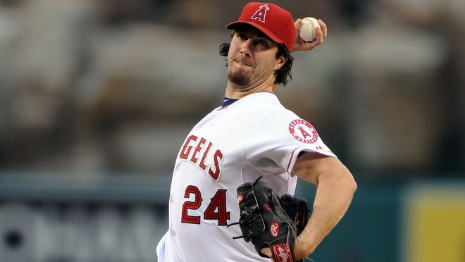 Dan Haren (24) is headed to Chicago to join the Cubs after the Angels traded him Friday.