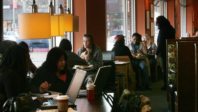 The lunch crowd at the Panera Cares Cafe in Dearborn, Mich.