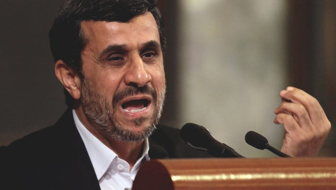 Iranian President Mahmoud Ahmadinejad speaks earlier this year at the University of Havana, in Havana, Cuba.