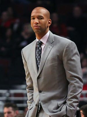 New Orleans Hornets head coach Monty Williams during the first half against the Chicago Bulls at the United Center.