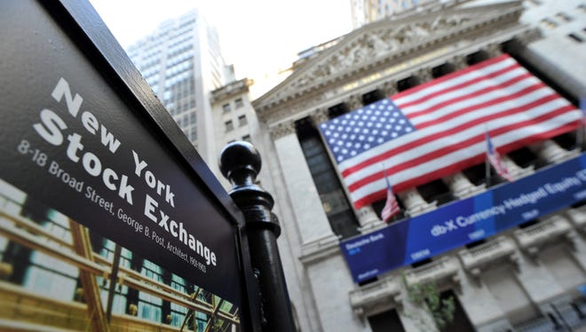 A sign is seen outside the New York Stock Exchange.