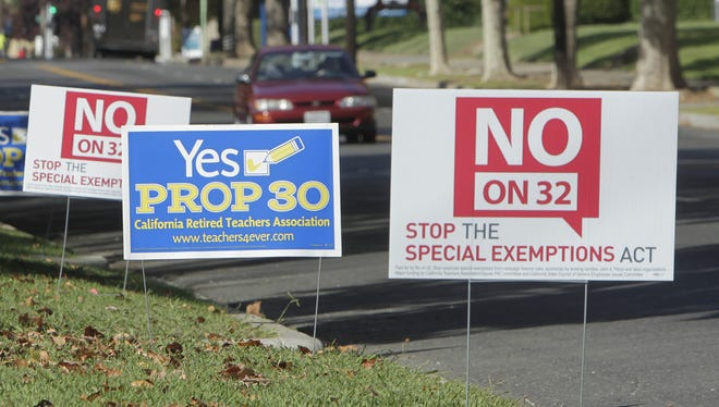 Campaign signs for and against two California initiatives in Sacramento.