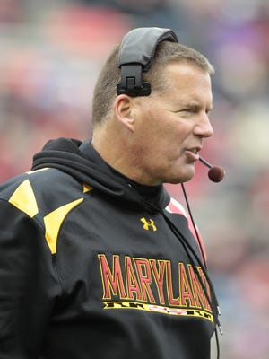Maryland head coach Randy Edsall walks off the field during an injury time-out in the second half of an NCAA football game against Georgia Tech, Saturday, Nov. 3, 2012, in College Park, Md. Georgia Tech won 33-13.
